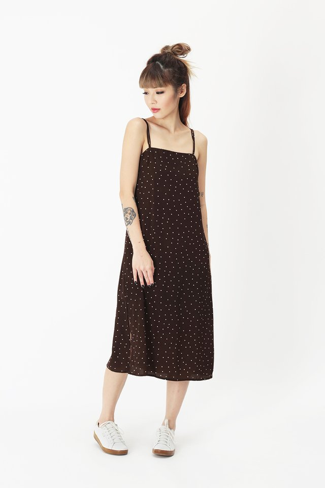ISABEL POLKADOT STRAP DRESS IN CHOCOLATE