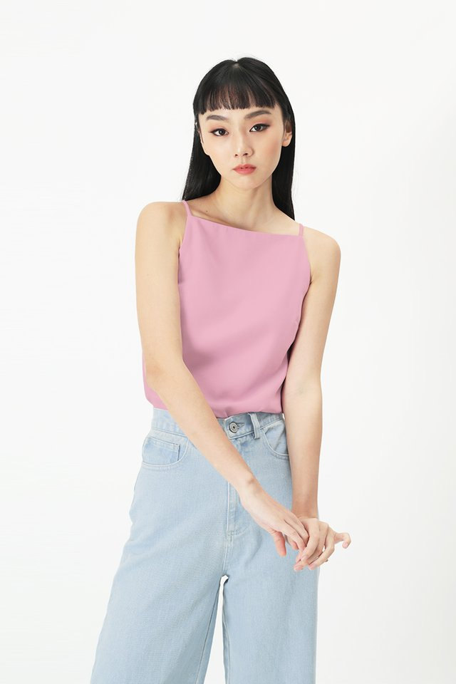 JULISSE SPAG TOP IN BUBBLEGUM PINK