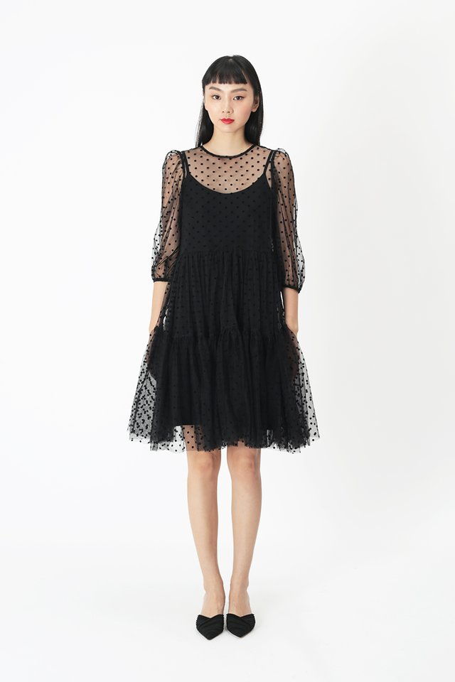MEREDITH POLKADOT TULLE DRESS IN BLACK