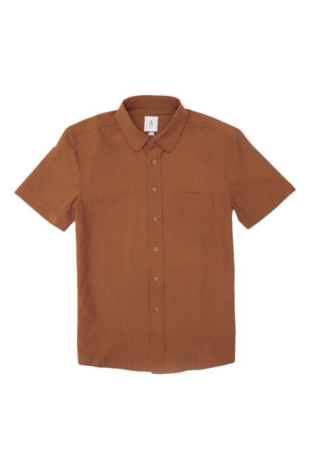 RUDY ROUND COLLAR SHIRT IN RUST