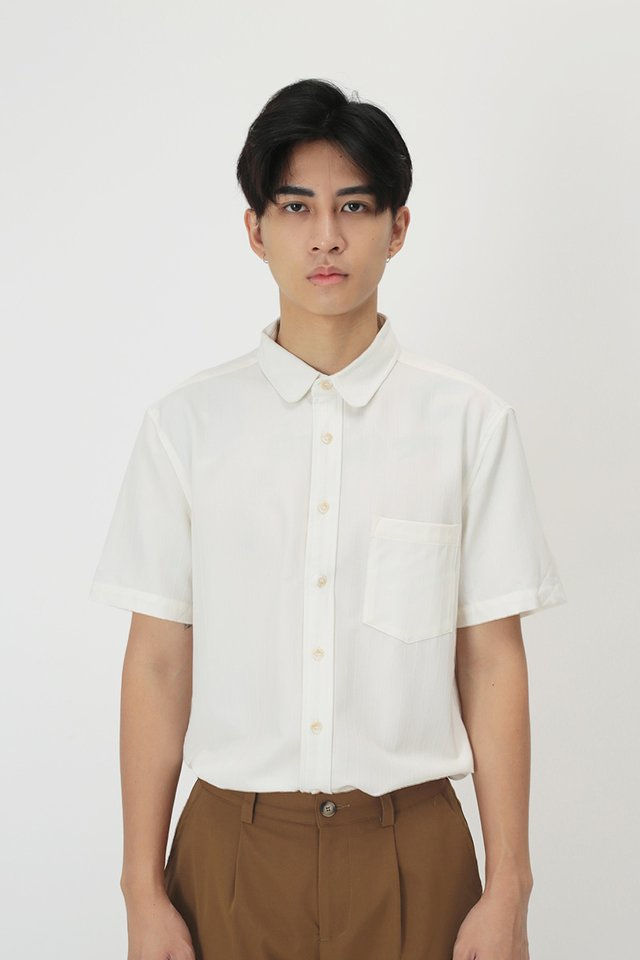 RUDY ROUND COLLAR SHIRT IN WHITE