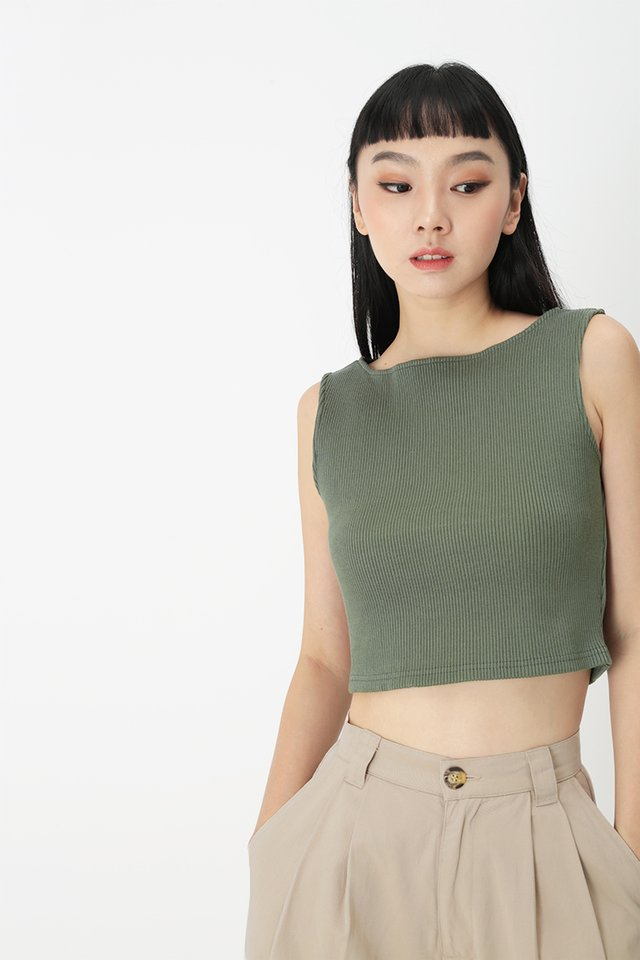 ANDRE RIBBED TANK TOP IN VINEYARD GREEN