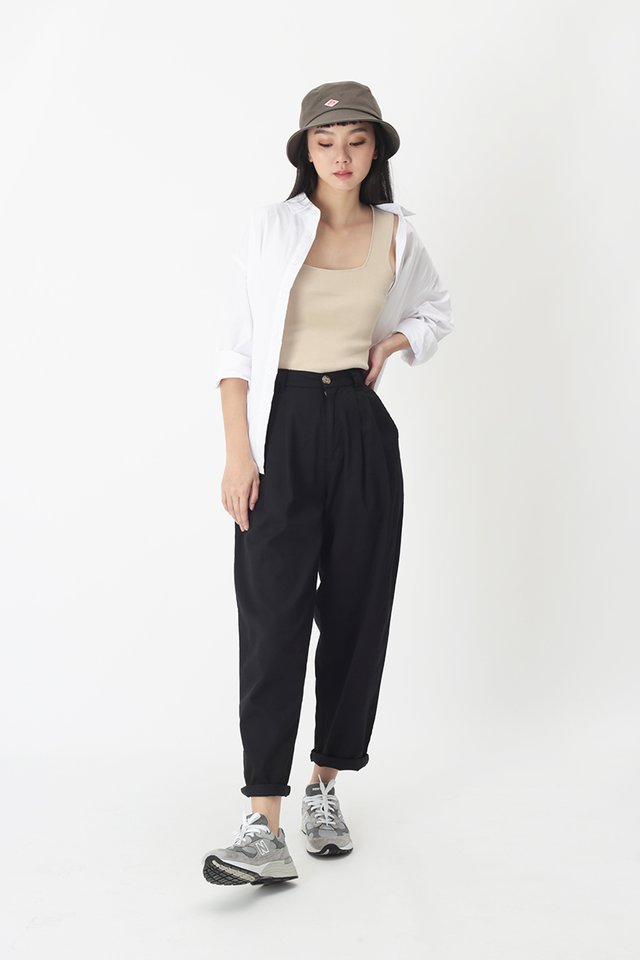 ASHBY PLEATED PANTS IN BLACK