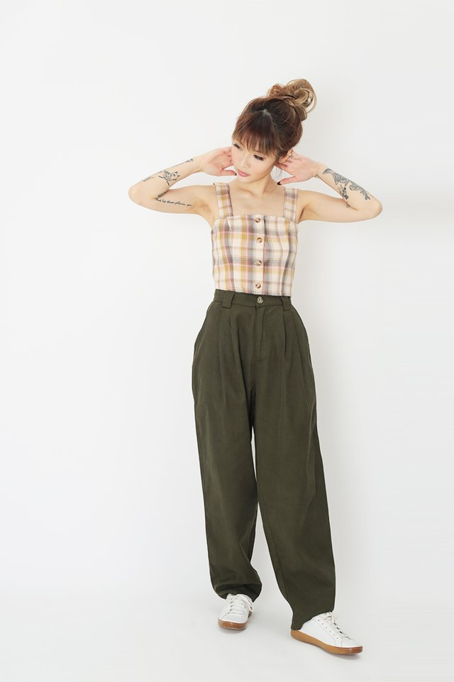 ASHBY PLEATED PANTS IN OLIVE