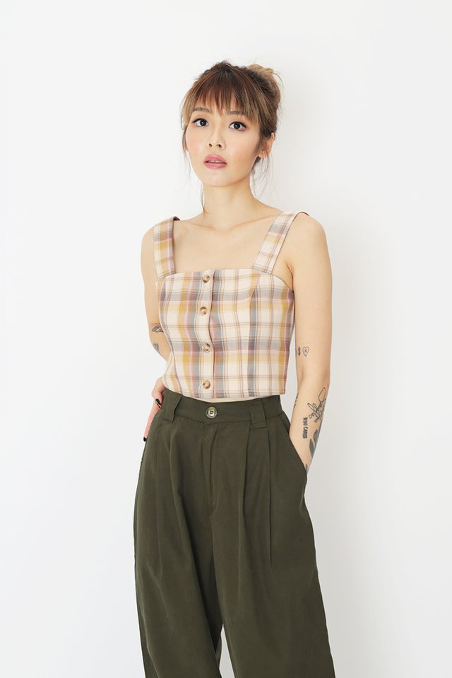 EMMALYN PLAID BUTTON TOP IN CREAM