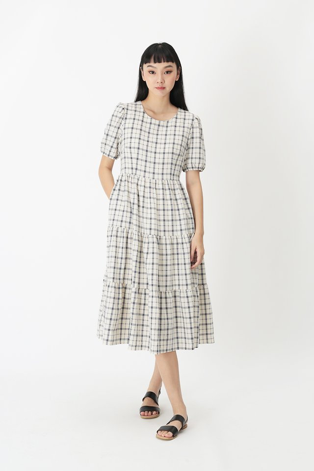 BETHANY CHECKERED TIER DRESS IN CREAM