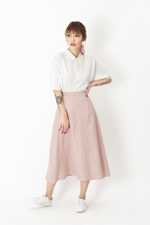EVE GINGHAM SKIRT IN BLUSH
