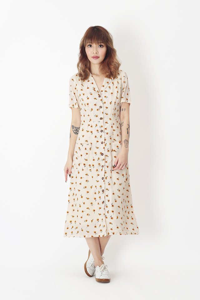 KIRSTEN FLORAL DRESS IN CREAM