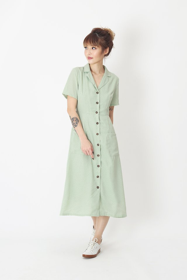 KIRSTEN POLKADOT DRESS IN MINT GREEN