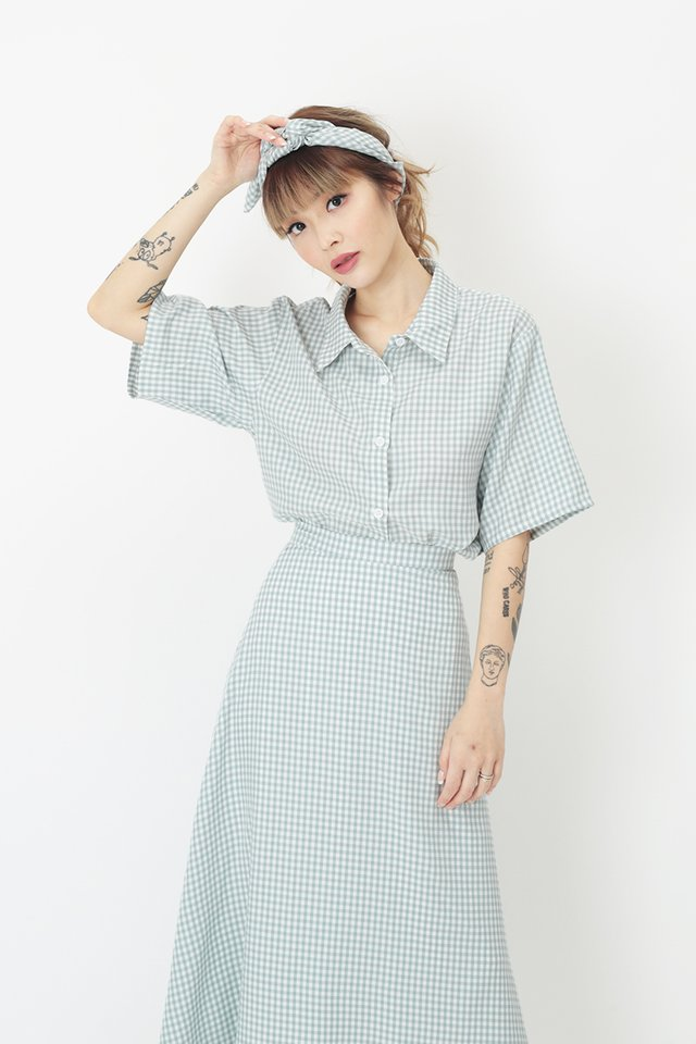 MAURIE GINGHAM SHIRT IN CLOUD BLUE