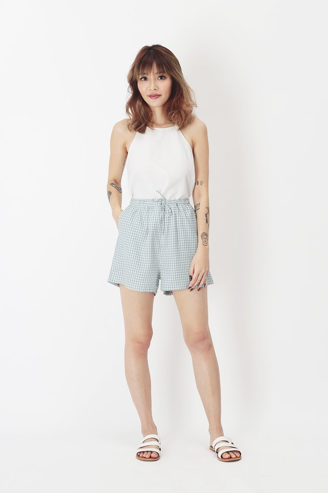 SUSIE GINGHAM SHORTS IN CLOUD BLUE