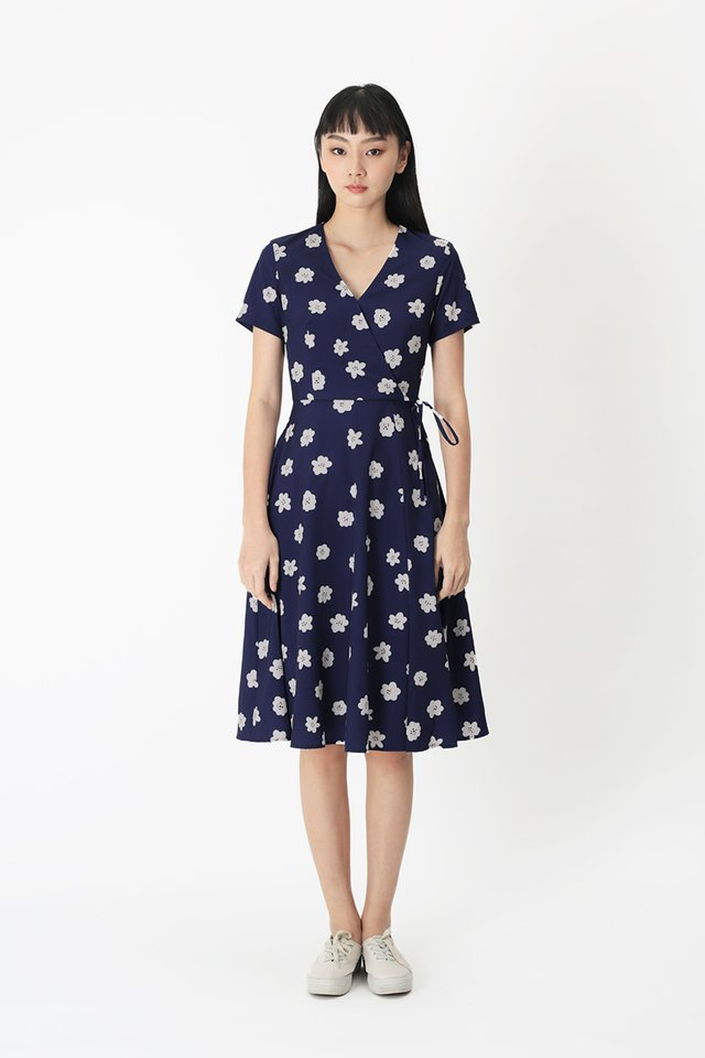 VANDRA BLOSSOM MIDI DRESS IN NAVY