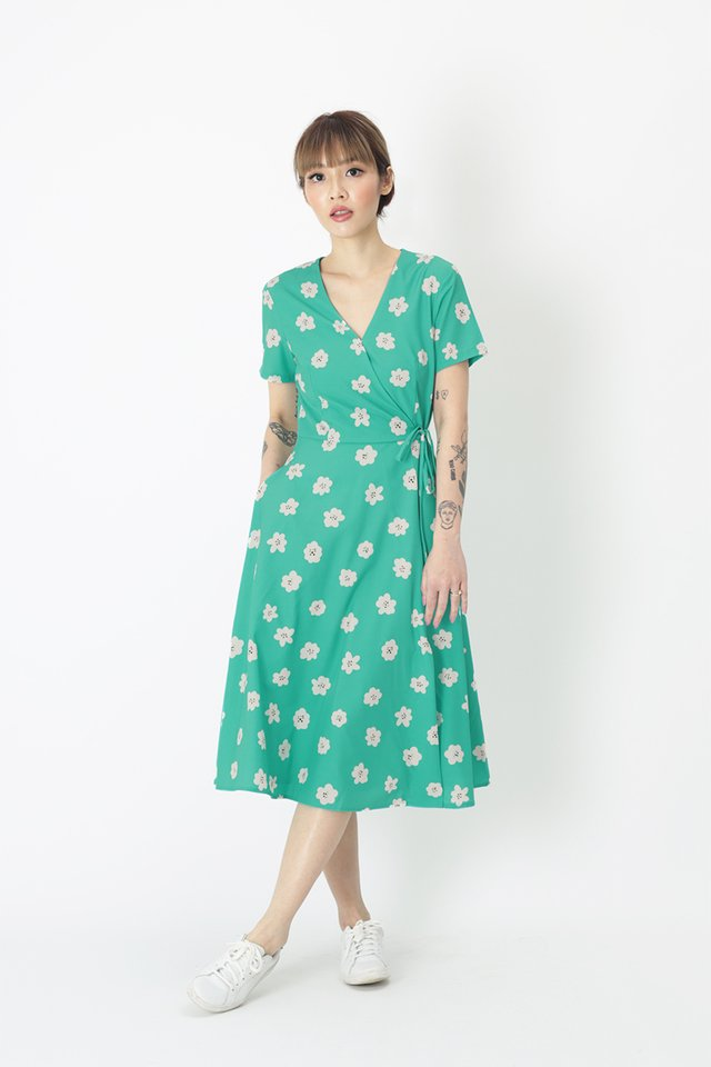 VANDRA BLOSSOM MIDI DRESS IN SUMMER GREEN