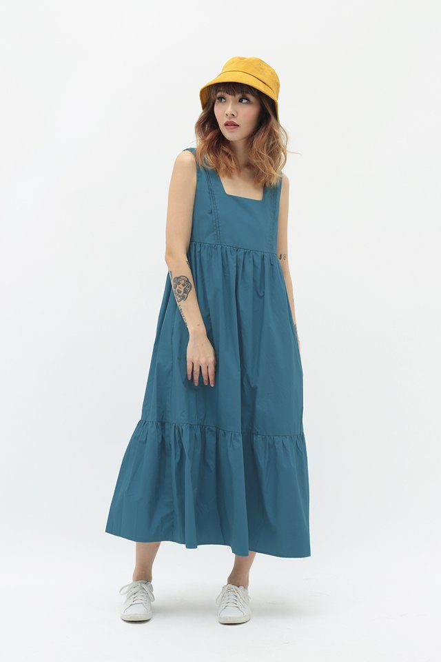 ADELIA MIDI DRESS IN CERULEAN