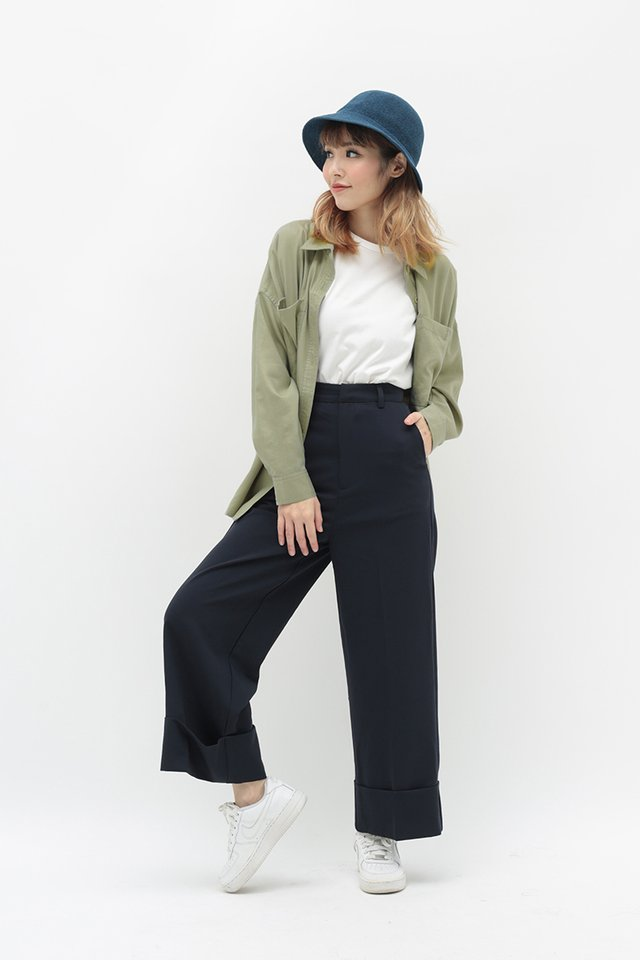 ALASTAIR CUFF CULOTTES IN NAVY