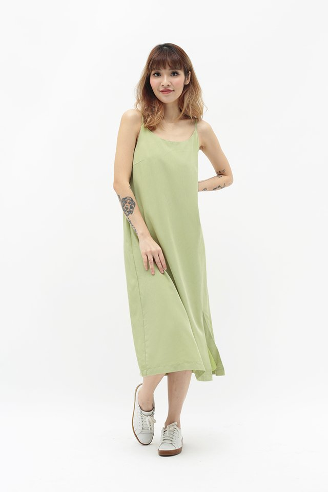GABRIELLA SPAG DRESS IN APPLE GREEN