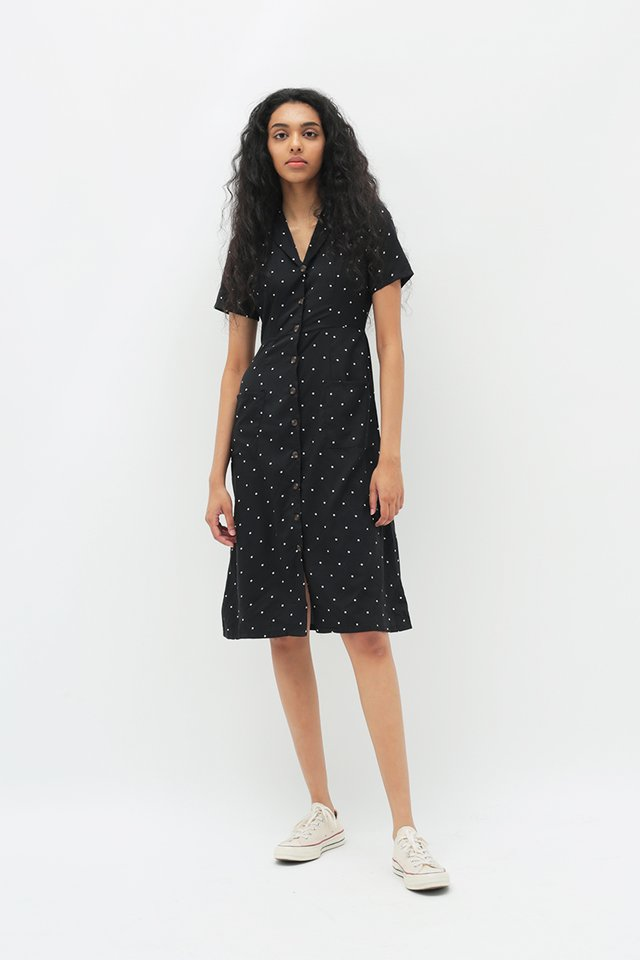 KIRSTEN POLKADOT DRESS IN BLACK