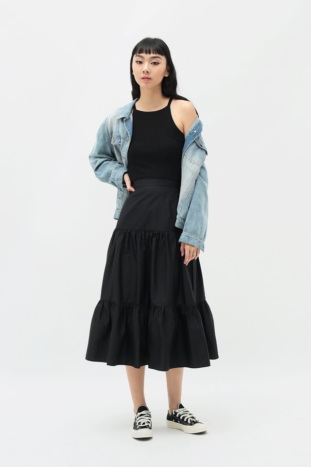 MELODY MIDI SKIRT IN BLACK