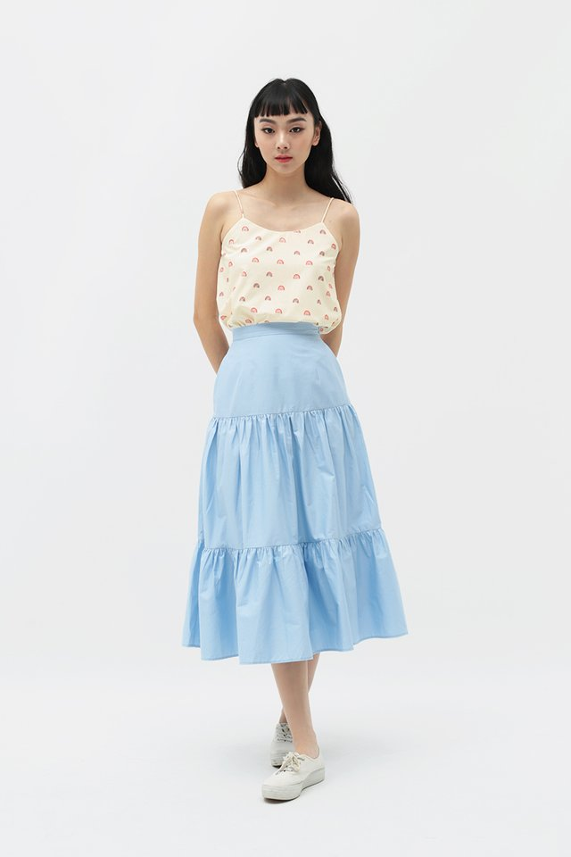 MELODY MIDI SKIRT IN CLOUD BLUE