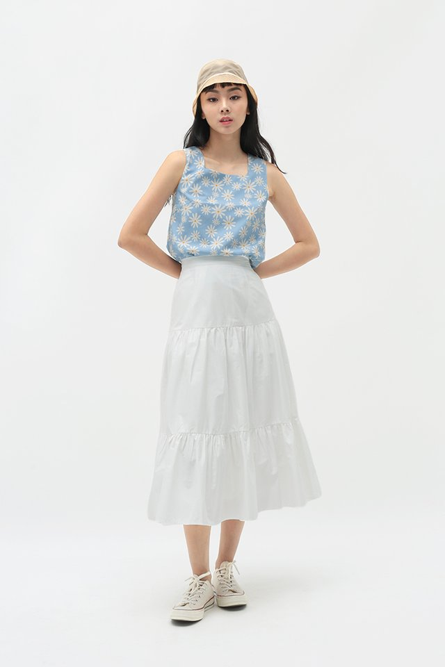 MELODY MIDI SKIRT IN WHITE