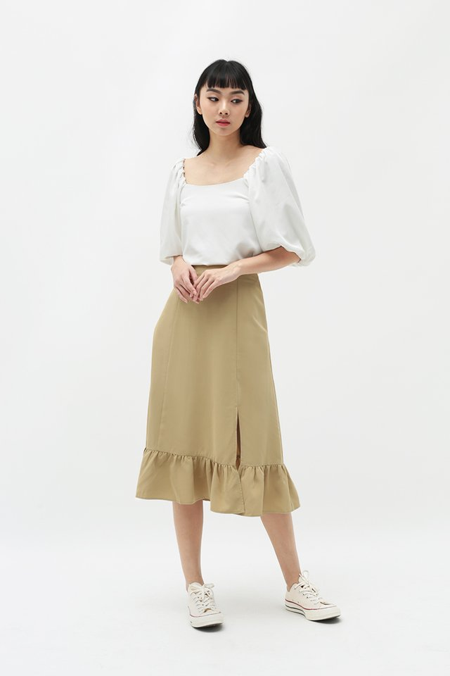 MISCHA DROP HEM SKIRT IN KHAKI