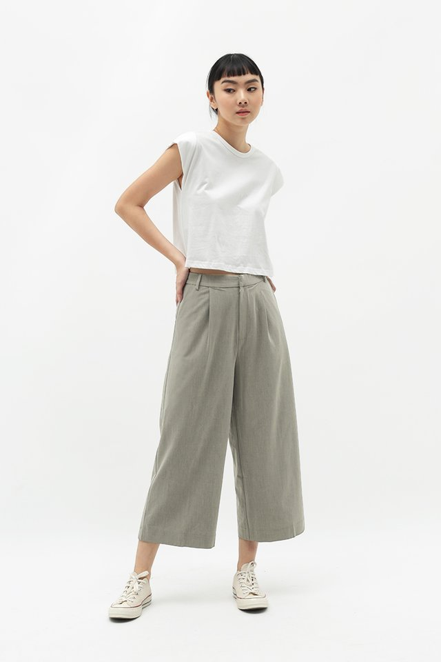 CERISE PLEATED CULOTTES IN EUCALYPTUS