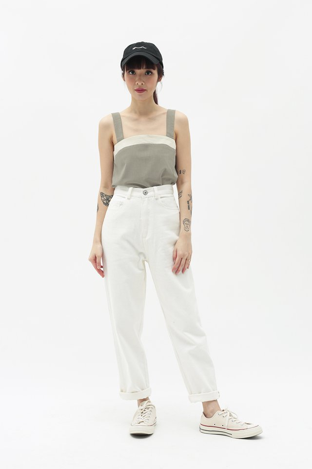 EIRA CONTRAST TOP IN EUCALYPTUS