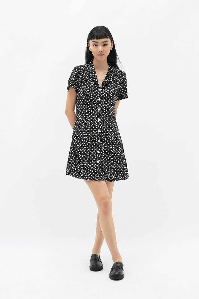 EMICA FLORAL CAMP COLLAR DRESS IN BLACK