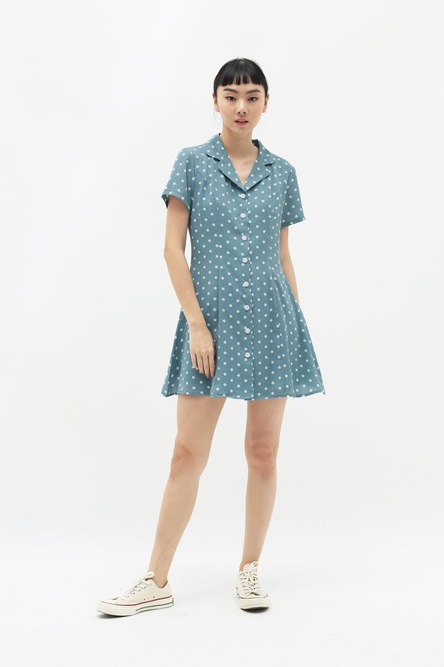 EMICA POLKADOT CAMP COLLAR DRESS IN DUSK BLUE