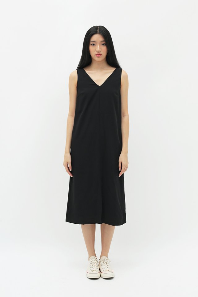 SAMAIRE MIDI TANK DRESS IN BLACK