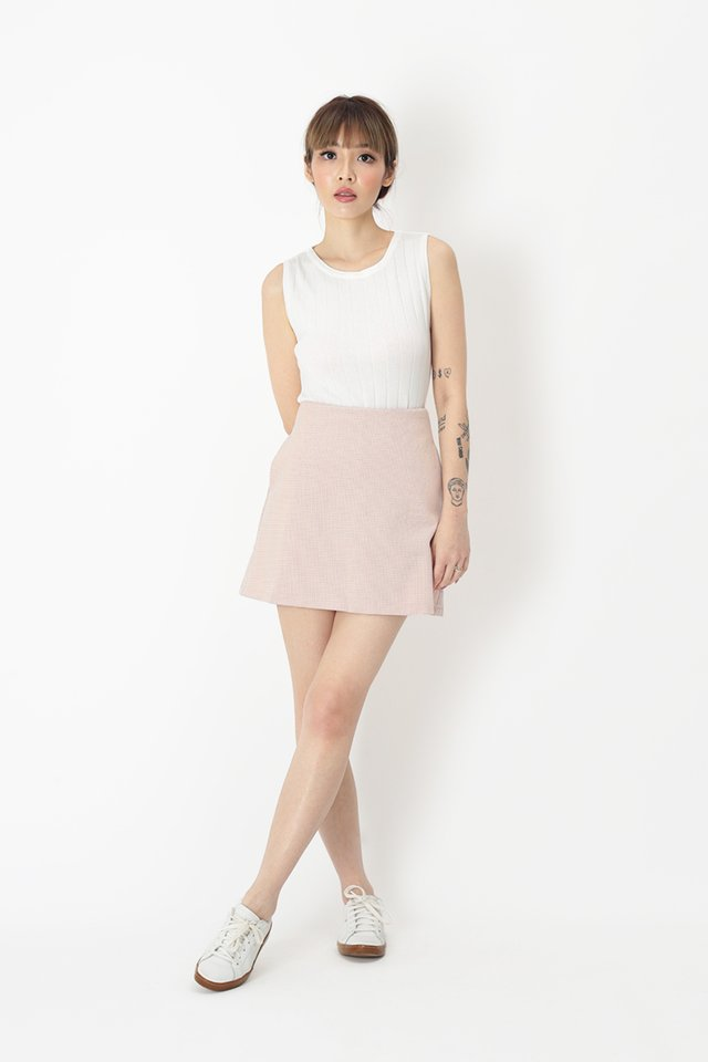 ACE GIRL TWEED SKORTS IN CHAMPAGNE PINK