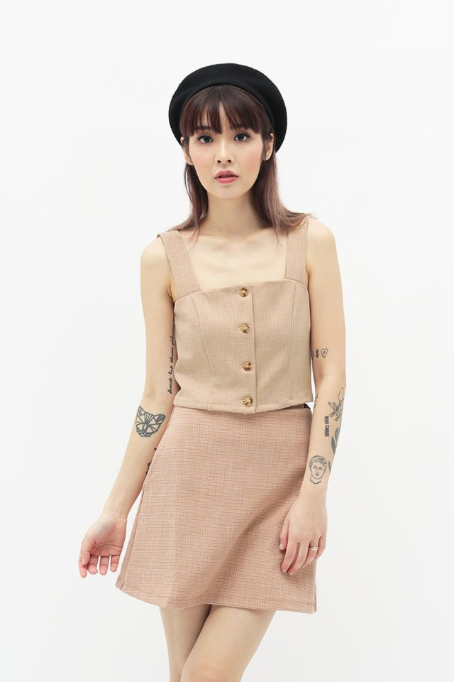 EMMALYN TWEED BUTTON TOP IN ORANGE SHERBERT