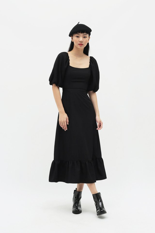 ADELAIDE PUFF SLEEVE DRESS IN BLACK