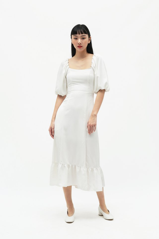ADELAIDE PUFF SLEEVE DRESS IN WHITE