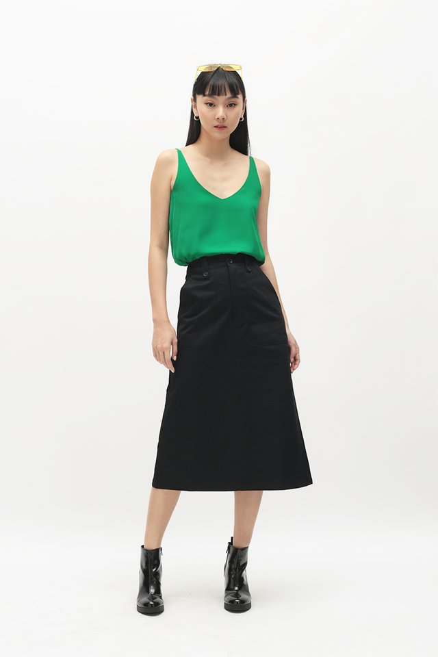ADRIAN MIDI SKIRT IN BLACK