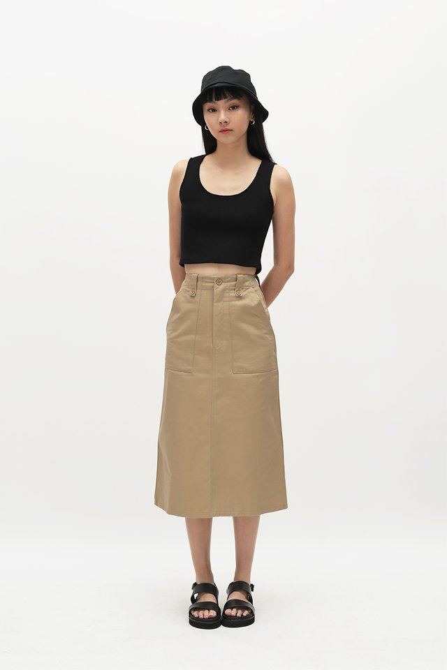 ADRIAN MIDI SKIRT IN KHAKI