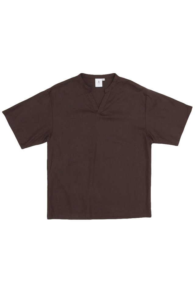 AMOS SKIPPER COLLAR TOP IN MAHOGANY