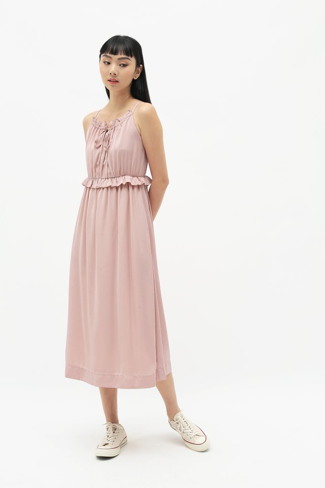 DIORA FRILL MIDI DRESS IN FRENCH PINK