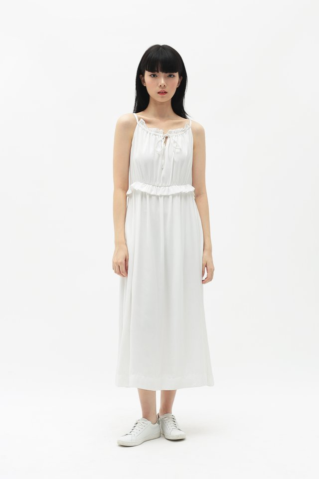 DIORA FRILL MIDI DRESS IN WHITE