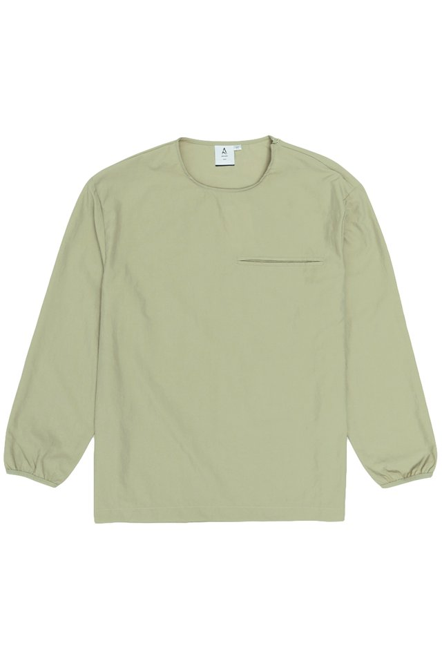 EUAN LONG SLEEVE POCKET TOP IN SAGE