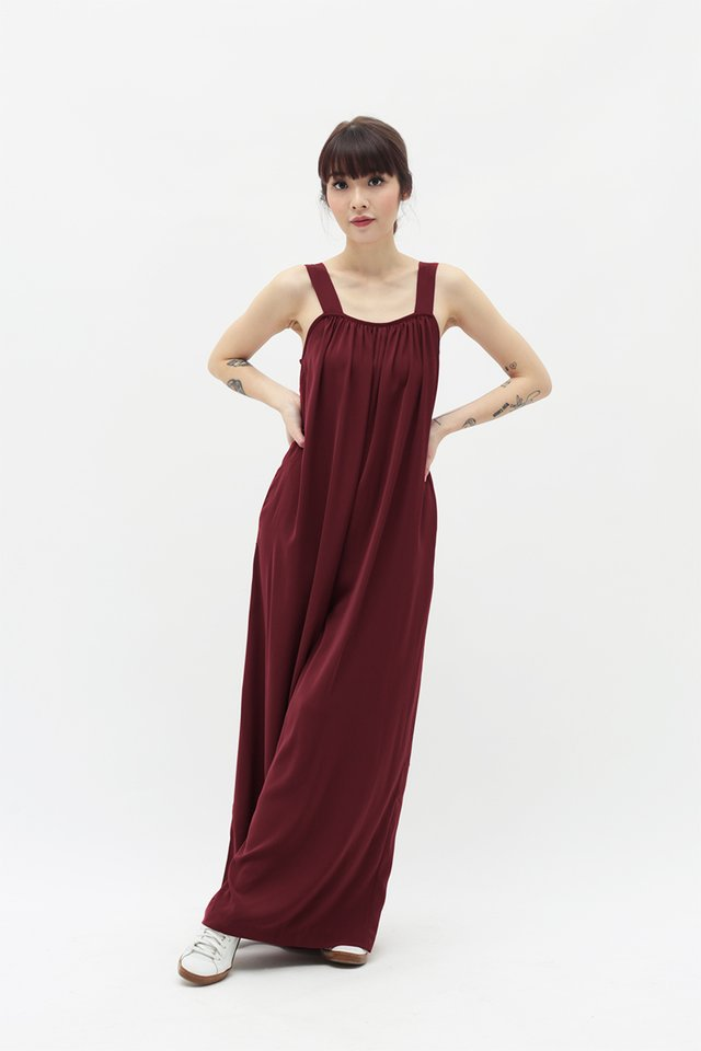 JANAE WIDE LEG JUMPSUIT IN DEEP RED