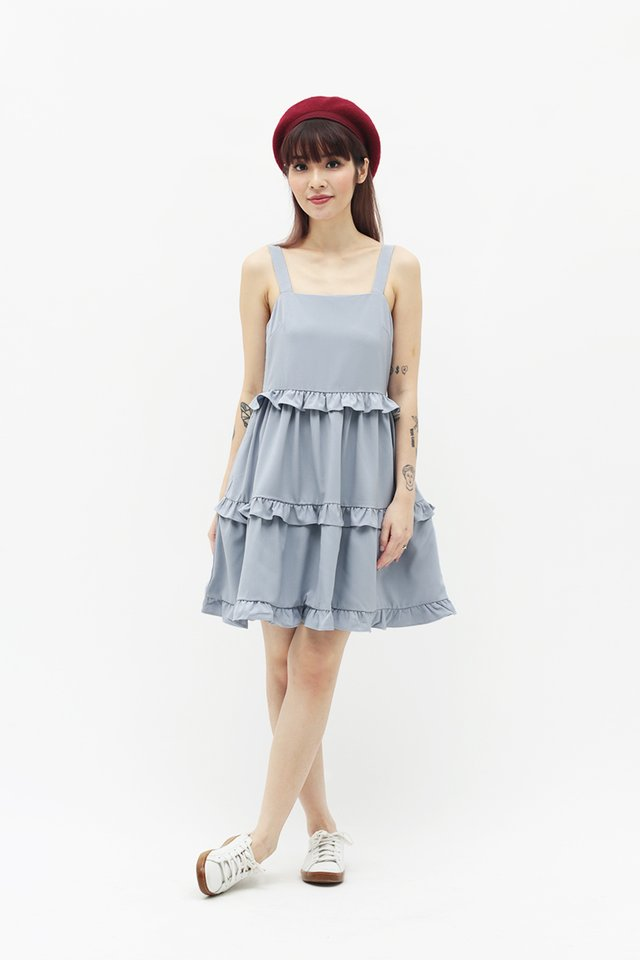 KARISA FRILL SKORTS ROMPER IN CLOUD GREY