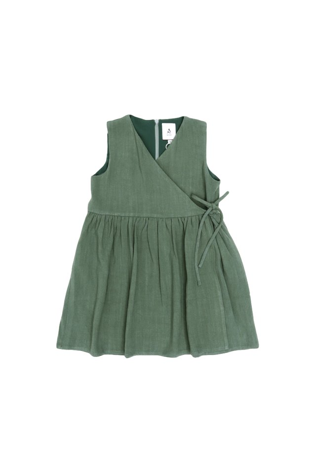 MARGO SIDE-TIE DRESS IN PINE