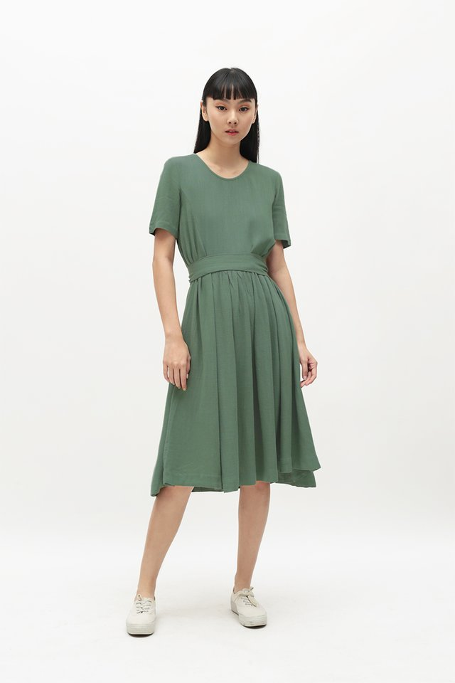 MATHILDA TIE DRESS IN PINE