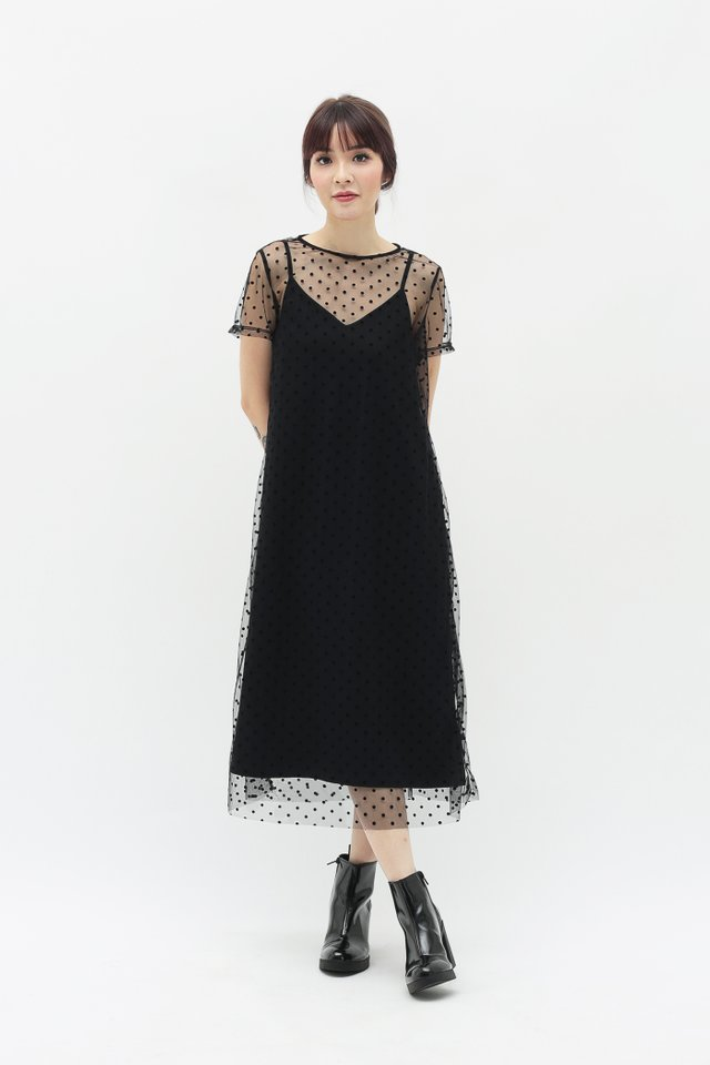 NADINE POLKADOT TULLE DRESS IN BLACK