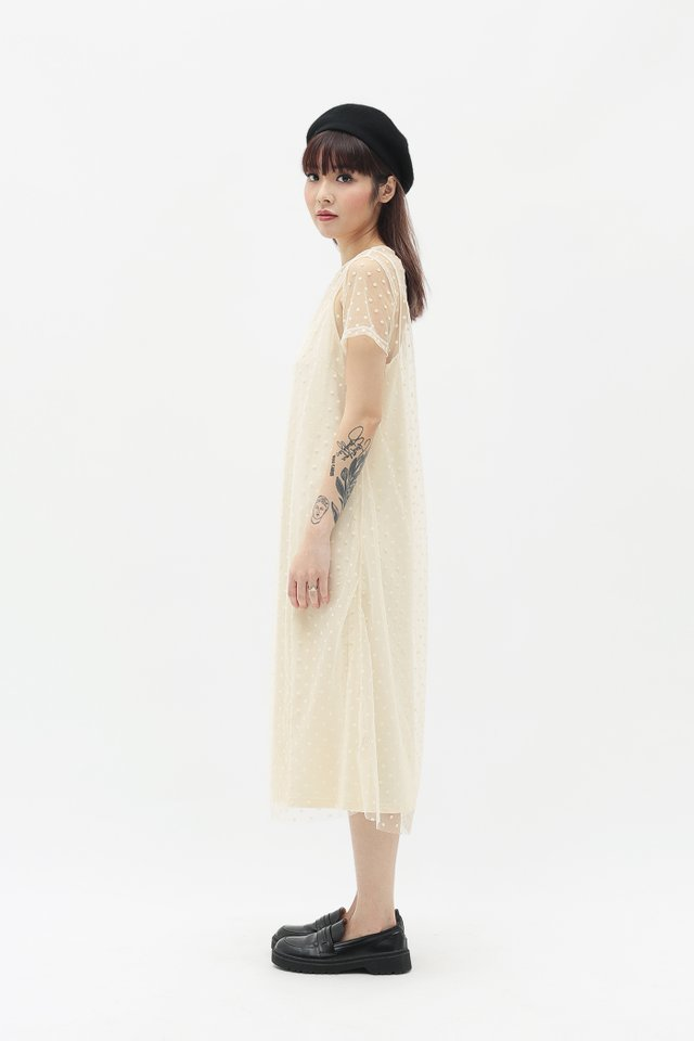 NADINE POLKADOT TULLE DRESS IN CREAM