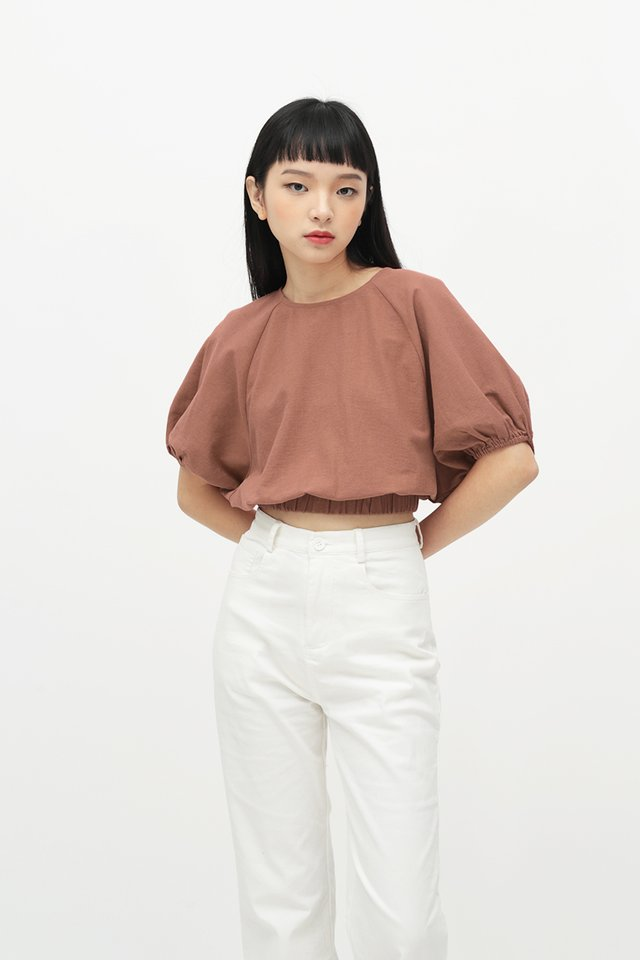 CLOUDY DAYS PUFF SLEEVE BLOUSE IN ROSEWOOD