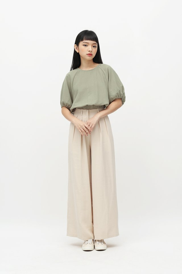 CLOUDY DAYS PUFF SLEEVE BLOUSE IN SAGE
