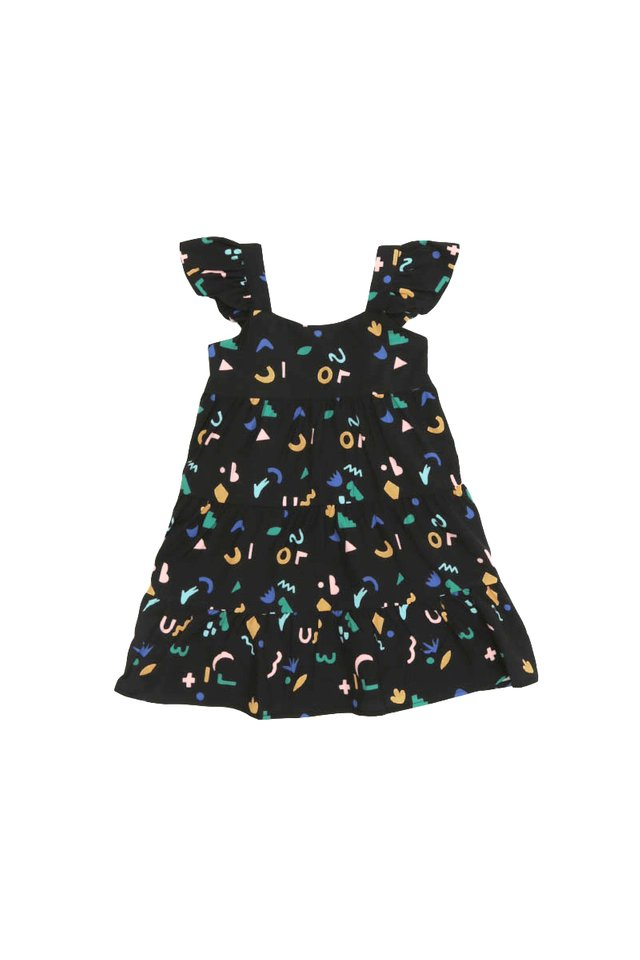 DOODLE TIME FRILL DRESS IN BLACK