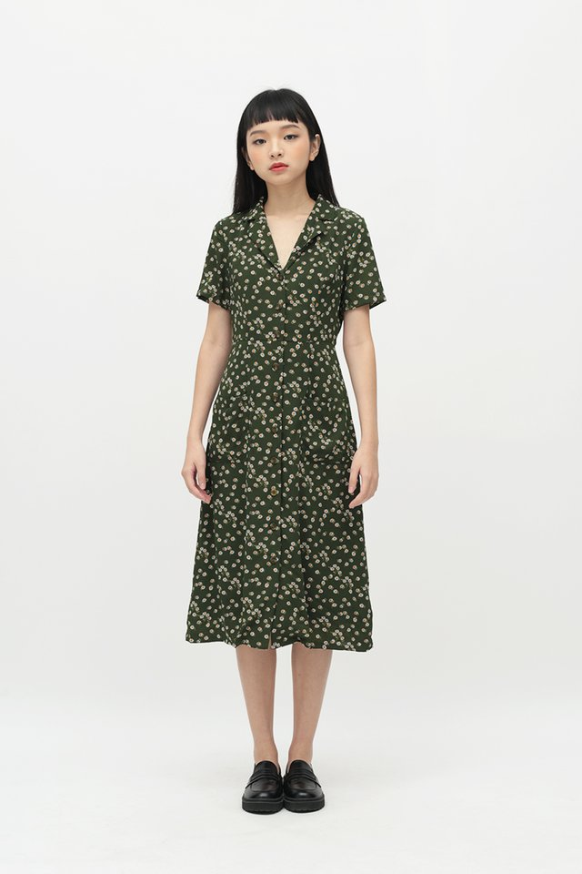 KIRSTEN FLORAL DRESS IN VINEYARD GREEN
